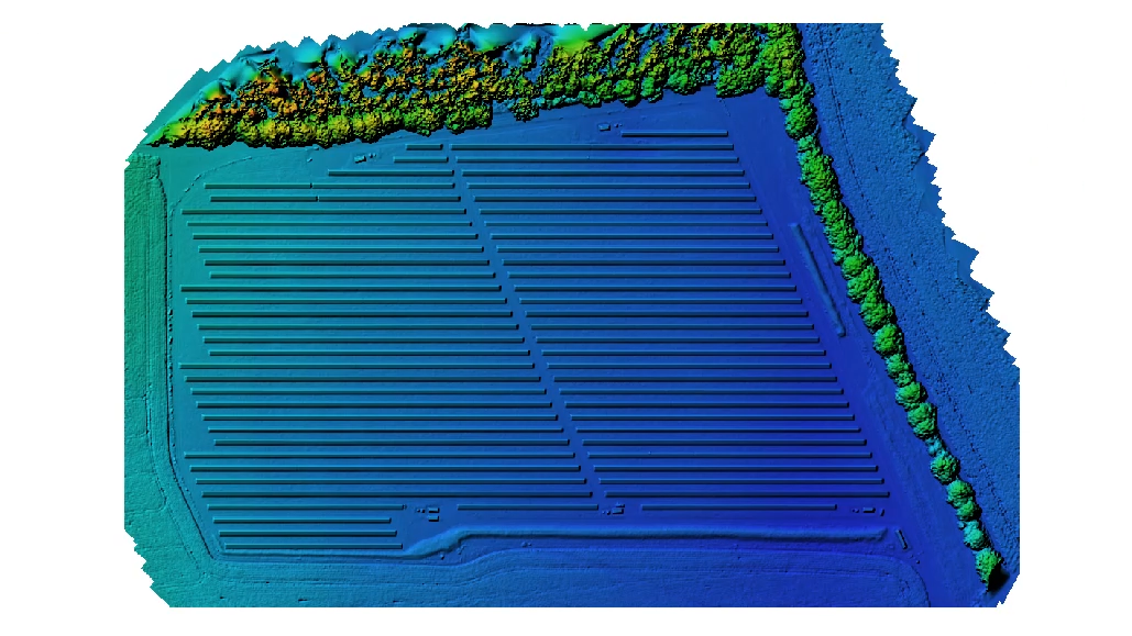 Blue and green image of a solar farm digital elevation