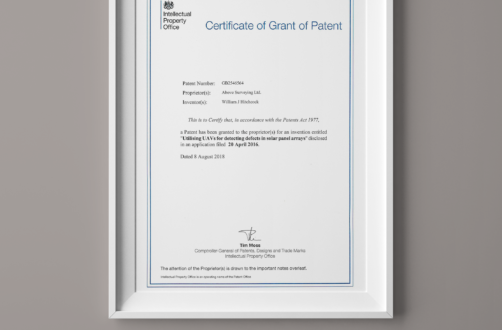 Certificate of Grant of Patent regarding aerial thermography