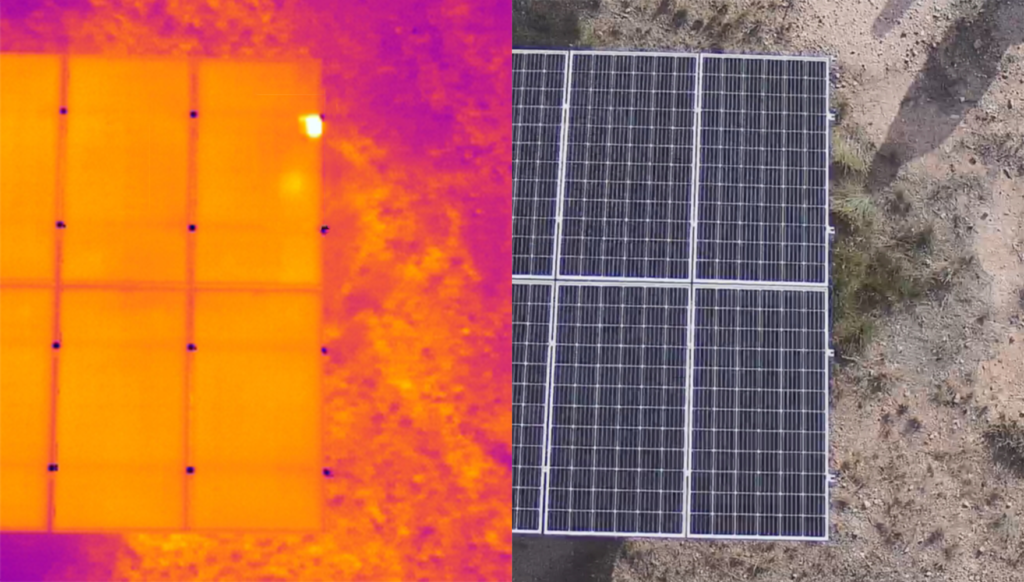 Thermographic image of solar panel